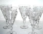 Antique crystal etched wine glasses  set of 5 Vintage cocktail glasses     barware  toasting glasses