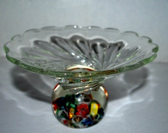 art glass bowl with paper weight bottom  vintage glass
