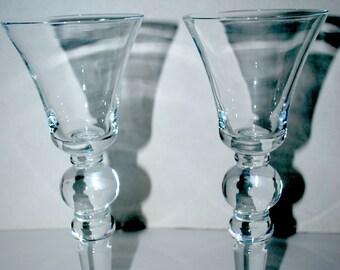 Sale Vintage  wine glasses hand blown glass tall wine glasses toasting glasses