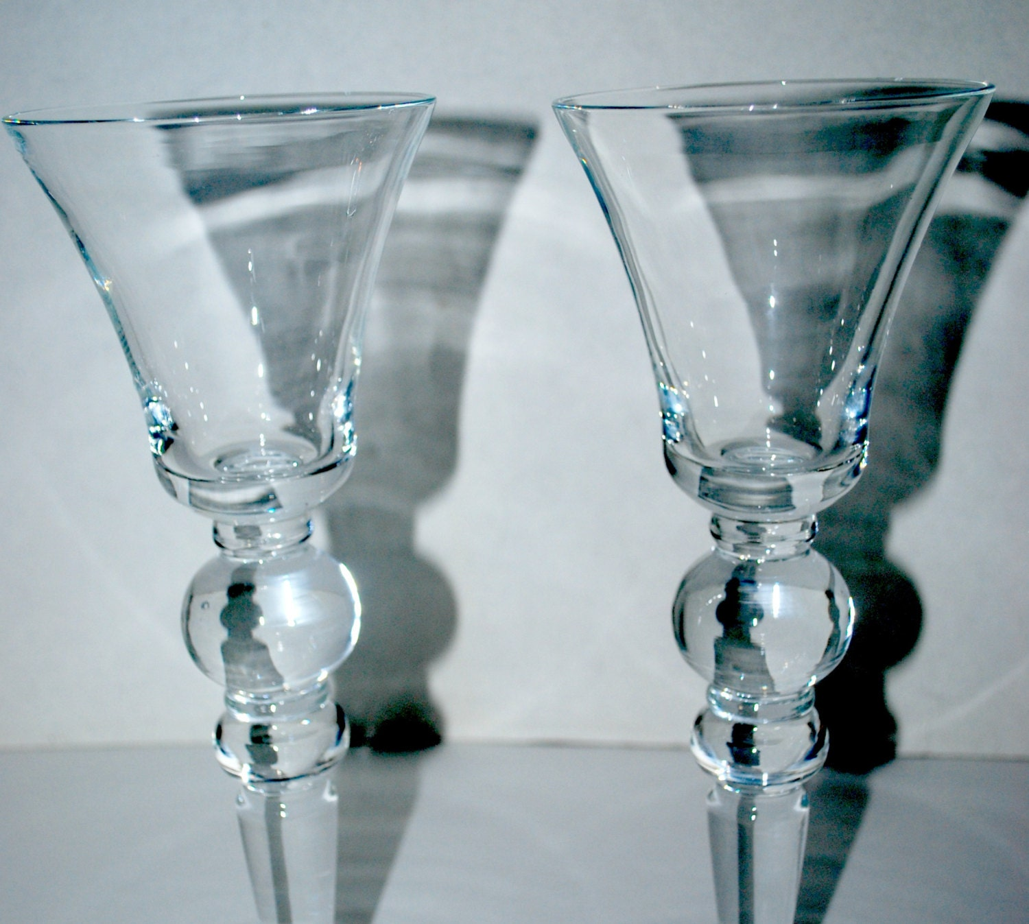 Vintage wine glasses hand blown glass tall wine glasses - Hand blown champagne flutes ...