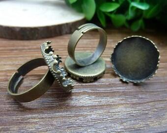 10pcs 20mm pad antique bronze ring base cabochon settings C6572