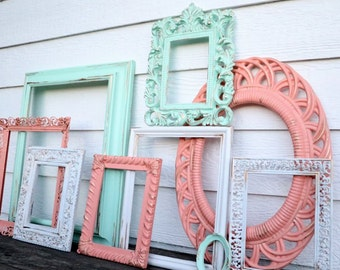Set of 9 Upcycled Frames - Mint, Antique White, and Coral - Wall Gallery - Nursery - Wedding - Vintage Frames - Frame Set - Scatter Frames