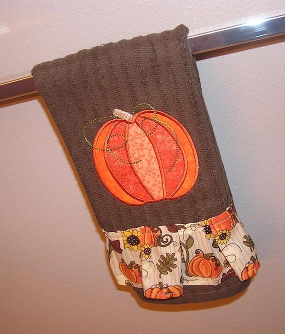 Dish Towel Sale: Sale Price Kitchen Towel Applique Pumpkin Pumpkin Towel