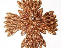 "Maltese Cross Brooch Pin Signed CAPRI Tiered Florentine Design Gold Metal 2.5"" Vintage"