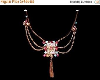 Art Deco Festoon Pendant Necklace MOP Pink Blue Rhinestones Gold Metal Chain 18 in Vintage