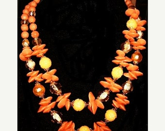 "German Flower Bead Necklace 2 Strands Orange, Yellow, Topaz Beads Signed 19"" Vintage 1960s"