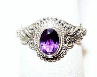 Amethyst Sterling Silver Ring Signed 925 1 Ct Gemstone Ladies Sz 6 NOS Vintage
