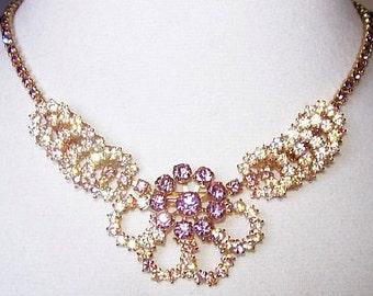 "Rhinestone Flower Bib Necklace Lavender AB Circle Stations Gold Metal 16"" Vintage"