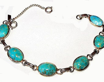 "Turquoise Link Bracelet Signed LONGCRAFT Oval Speckled Stones Gold Metal Security Chain 7"" Vintage"