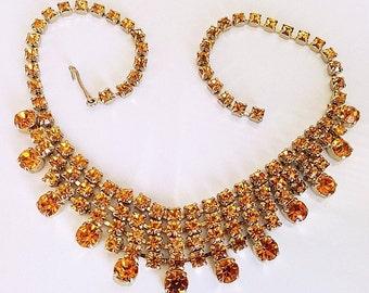 "Orange Citrine Rhinestone Bib Necklace Choker Style Gold Metal 15"" Vintage"