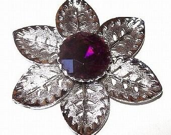 Flower Brooch Pin Purple Rhinestone Silver Metal Cut Work High Fashion 2.5 in Vintage