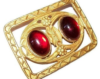 "Art Deco Brooch Red Art Glass Stones Stamped Geometrics Gold Metal 2 1/4"" Vintage"