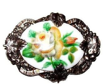 "Art Nouveau Porcelain Brooch Pin Signed Sterling Yellow Hand Painted Flower Design 2"" Vintage"