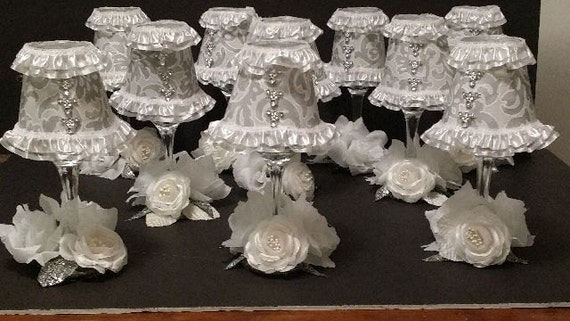 Items similar to wine glass lamp shade centerpieces