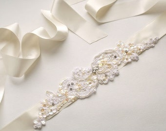 Ivory Bridal Sash Wedding Belt Ivory Bridal Belt Beaded Lace Wedding Sash Wedding Dress Belt Narrow Ribbon Bridal Sash Floral Wedding Belt