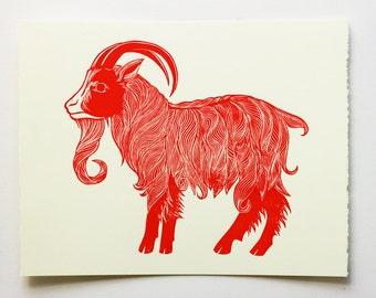 Goat Linocut