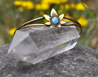 Ganja Baby Collection //  Tiny Turquoise Pot Leaf Cuff Bracelet