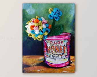 Honey Can CROCHET + PAINTING on CANVAS - Distressed, Antique Paint Honey, Apiary Can with Crochet Hydrangea Placed on a Stained Wooden Table