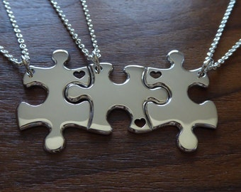 Three Puzzle Heart Pieces with Hearts, Best Friends Necklace Pendants