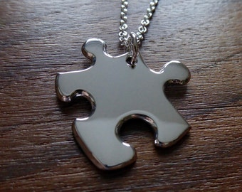 Silver Jigsaw Puzzle Piece Pendant Necklace