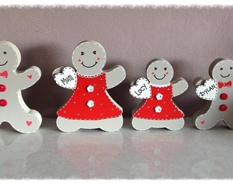 Personalised christmas decorations gingerbread family