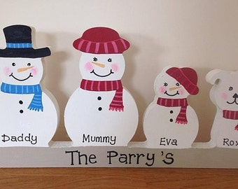 Personalised snowman family christmas decoration plinth