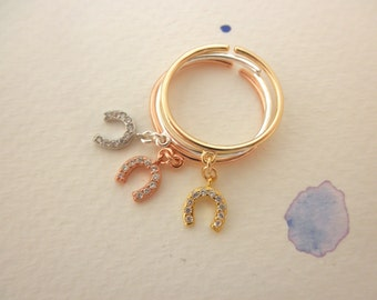 CZ lucky horseshoe ring - cz tiny horseshoe dangle ring - adjustable ring  - silver - gold - rose gold charm ring