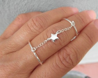 Star double chain ring -  tiny star ring - adjustable double ring  - chain double ring - silver - gold -