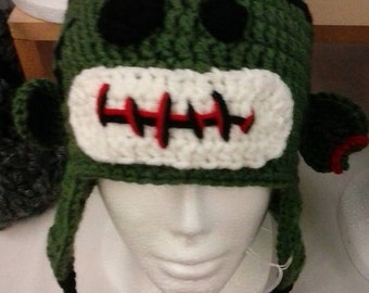 Zombie Sock Monkey Hat with Ear Flaps