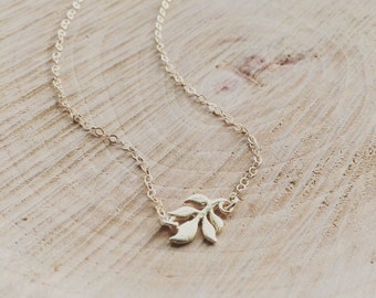Gold Leaf Necklace / Leaf Necklace / Fall Jewelry / Sideways 24K Gold Vermeil Leaf Necklace / Holiday Gift, Bridesmaid Gift