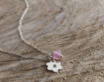 Flower Necklace / Flower Initial Necklace/ All Sterling Silver / Tiny Initial and Pearl Necklace / Personalized Gift / Flower Girl Gift