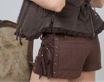 ON SALE!! suede steampunk shorts Burning Man brown leather laceup shorts biker pixie style burning man