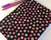 Fabric Covered Notebook – Black and Pink Flower Print Fabric