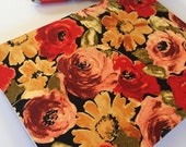 Fabric Covered Notebook – Yellow, Peach and Red Bold Floral Print Fabric