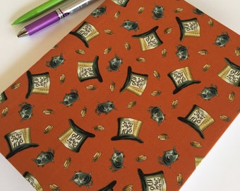 Fabric Covered Notebook – Mad Hatter Tea Party Print Fabric