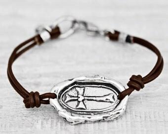 Faith Lives Bracelet - Cross Wax Seal Bracelet - Faith Jewelry - B481