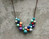 Retro coloured wooden bead necklace, aqua, purple, orange, navy, bib necklace, pastel, contemporary.