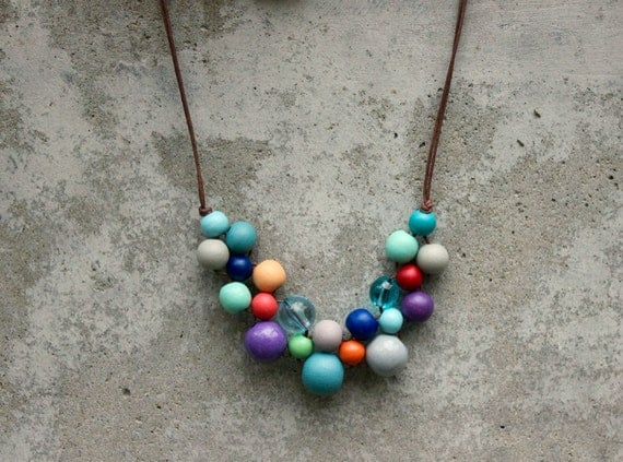 Retro coloured wooden bead necklace aqua purple orange for Vintage sites like etsy