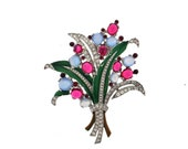 Trifari 1940 Philippe Ruby & Moonstone Jelly Belly Rhinestone Clip Brooch Pin-Reserve for J