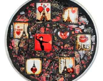 Paris Celebration in Red Glass Mosaic Plate