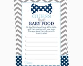 Bow Tie Baby Shower Guessing Game -- Guess the Jar Food Baby Shower Printable -- Instant Download Jar Food Activity Card Grey and Navy