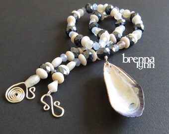 Unique Handmade Jewelry Long Beaded Beach Necklace with Blue Mussel Seashell, Handmade Clasp by Brenna Lynn Jewelry