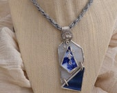 Stain Glass & Flow Blue Necklace...FREE SHIPPING
