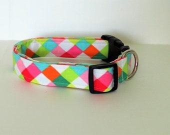 Colorful Dog collar, diamond, handmade dog collar, geometric dog collar