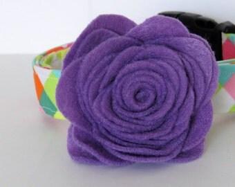 Floral dog collar accessory, Luna felt flower, dog collar accessory,dog flower , wedding flower accessory, felt rose accessory, purple
