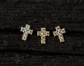 CZ diamond Cross push in 16gauge bio flexible Tragus / lip labret / cartilage/ helix piercing