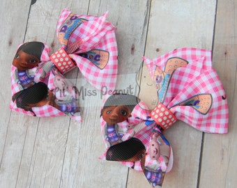 Doc Mcstuffins Pigtails Hair Bows - Set of two
