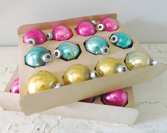 Vintage Glass Ornaments Pastel Blue Pink Gold Tree Ornament Christmas Decoration Holiday Decor