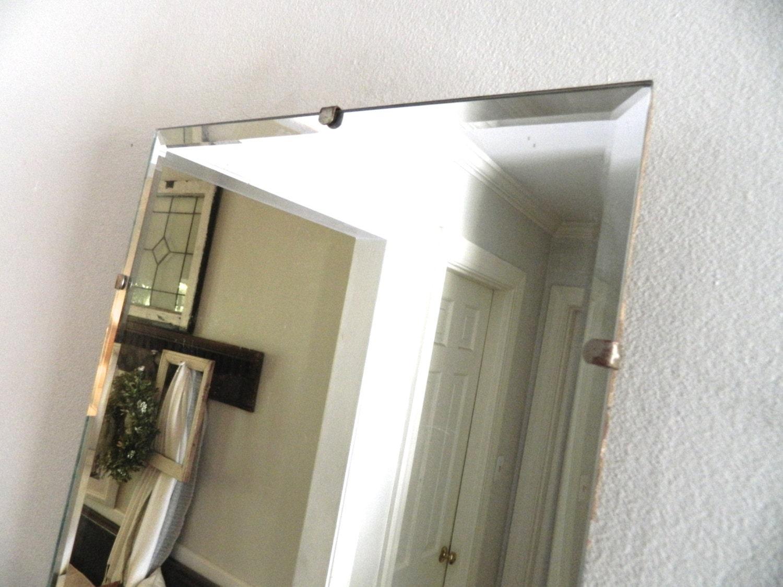 Vintage frameless mirror beveled for Frameless beveled mirror