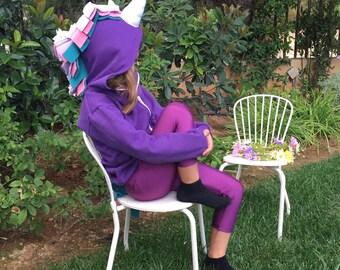 Purple Unicorn Hoodie-Purple Girl Hoodie-Halloween Unicorn-Little Pony Hoodie-Unicorn Costume-Halloween Clothes-Unicorn Party-Play Clothes